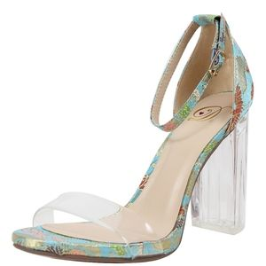 Shoes - Blue Open Toe Clear Strap Embroidery Clear Heel